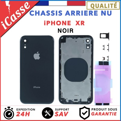 Chassis Arriere pour iPhone XR Noir - Chassis Coque nu + COLLE