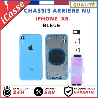 Chassis Arriere pour iPhone XR Bleue - Chassis Coque nu + COLLE
