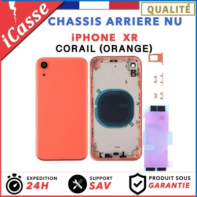 Chassis Arriere pour iPhone XR Corail (ORANGE) - Chassis Coque nu + COLLE