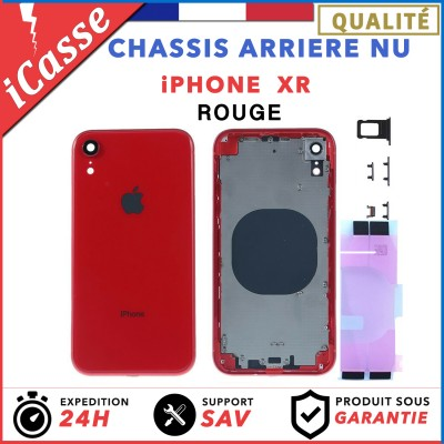 Chassis Arriere pour iPhone XR Rouge - Chassis Coque nu + COLLE