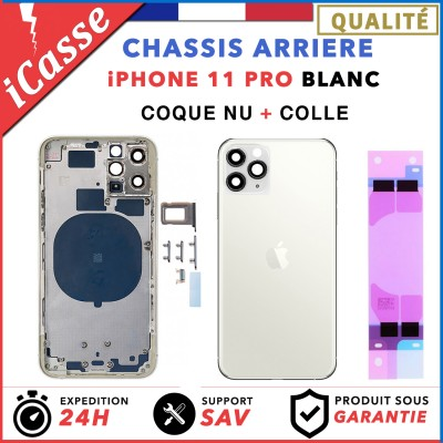 Chassis Arriere pour iPhone 11 PRO Blanc - Chassis Coque nu + COLLE