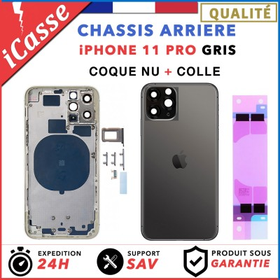 Chassis Arriere pour iPhone 11 PRO GRIS - Chassis Coque nu + COLLE