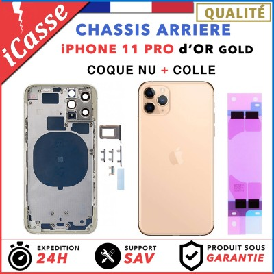 Chassis Arriere pour iPhone 11 PRO OR / GOLD - Chassis Coque nu + COLLE