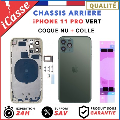 Chassis Arriere pour iPhone 11 PRO VERT - Chassis Coque nu + COLLE