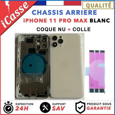 Chassis Arriere pour iPhone 11 PRO MAX BLANC - Chassis Coque nu + COLLE