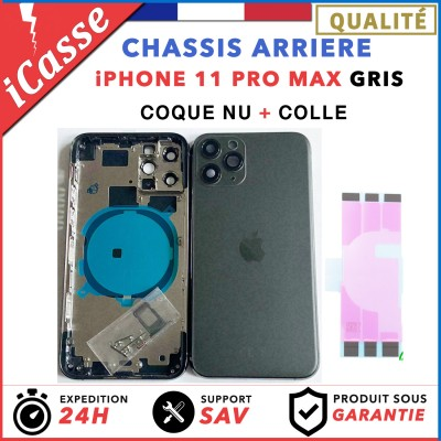 Chassis Arriere pour iPhone 11 PRO MAX GRIS - Chassis Coque nu + COLLE