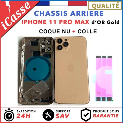 Chassis Arriere pour iPhone 11 PRO MAX OR / GOLD - Chassis Coque nu + COLLE