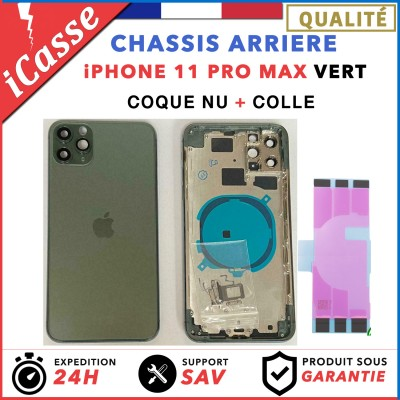Chassis Arriere pour iPhone 11 PRO MAX VERT - Chassis Coque nu + COLLE