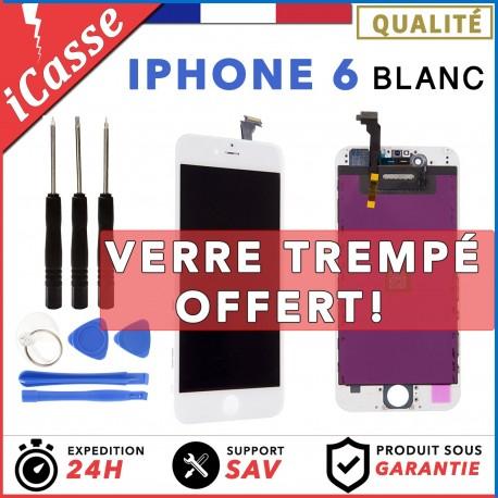 VITRE TACTILE IPHONE 6 BLANC + ECRAN LCD RETINA SUR CHASSIS + OUTILS