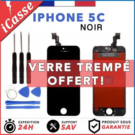 VITRE TACTILE IPHONE 5C NOIR + ECRAN LCD RETINA SUR CHASSIS + OUTILS