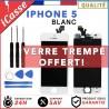 VITRE TACTILE IPHONE 5 BLANC + ECRAN LCD RETINA SUR CHASSIS + OUTILS