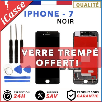 VITRE TACTILE + ECRAN LCD RETINA ASSEMBLE SUR CHASSIS POUR IPHONE 7 NOIR