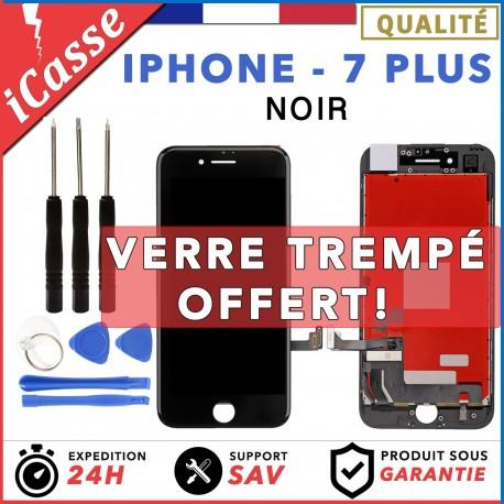 ECRAN LCD + VITRE TACTILE SUR CHASSIS POUR IPHONE 7 PLUS NOIR + KIT OUTILS