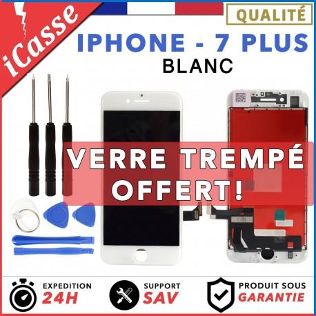 ECRAN LCD + VITRE TACTILE SUR CHASSIS POUR IPHONE 7 PLUS BLANC + KIT OUTILS