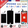 ECRAN LCD SUR CHASSIS + VITRE TACTILE IPHONE 6 / 6 PLUS, 6S / 6S PLUS NOIR BLANC