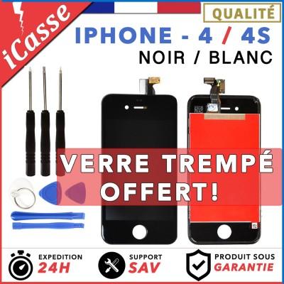 VITRE TACTILE + ECRAN LCD RETINA SUR CHASSIS IPHONE 4 / 4S NOIR OU BLANC + OUTIL