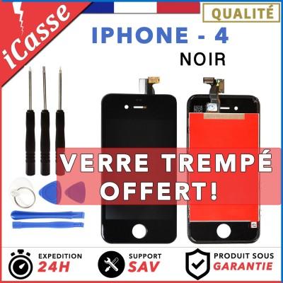VITRE TACTILE + ECRAN LCD RETINA SUR CHASSIS IPHONE 4 NOIR + OUTILS