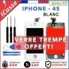 VITRE TACTILE + ECRAN LCD RETINA SUR CHASSIS IPHONE 4S BLANC + OUTILS