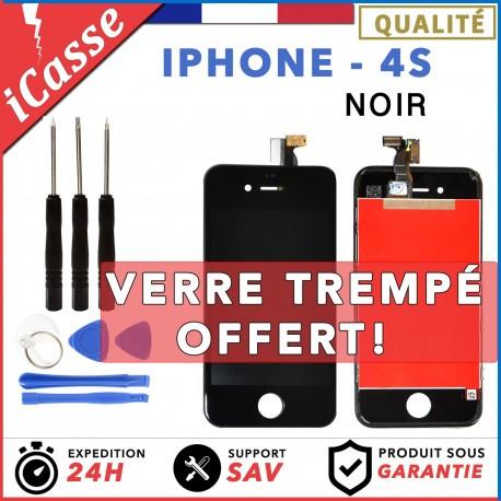 VITRE TACTILE + ECRAN LCD RETINA SUR CHASSIS IPHONE 4S NOIR + OUTILS