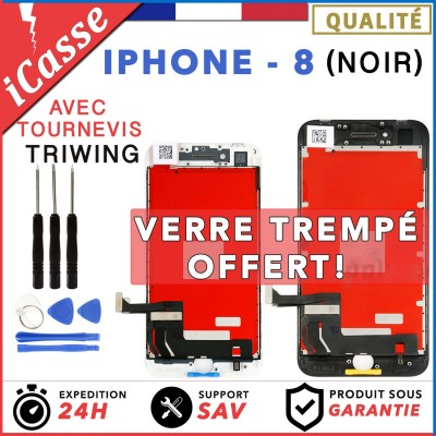 ECRAN LCD + VITRE TACTILE SUR CHASSIS POUR IPHONE 8 NOIR + OUTILS