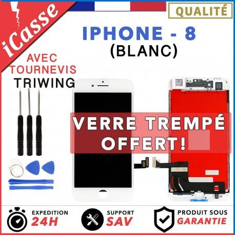 ECRAN LCD + VITRE TACTILE SUR CHASSIS POUR IPHONE 8 BLANC + OUTILS