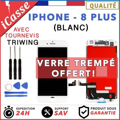 ECRAN LCD + VITRE TACTILE SUR CHASSIS POUR IPHONE 8 PLUS BLANC + OUTILS