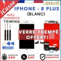 ECRAN LCD + VITRE TACTILE SUR CHASSIS IPHONE 8 PLUS BLANC + OUTILS