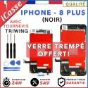 ECRAN LCD + VITRE TACTILE SUR CHASSIS IPHONE 8 PLUS NOIR + OUTILS
