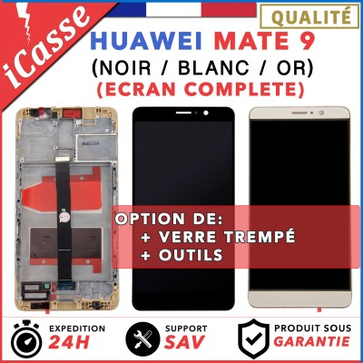 ECRAN LCD + VITRE TACTILE + COMPLETE FRAME POUR HUAWEI MATE 9 NOIR / BLANC OU OR