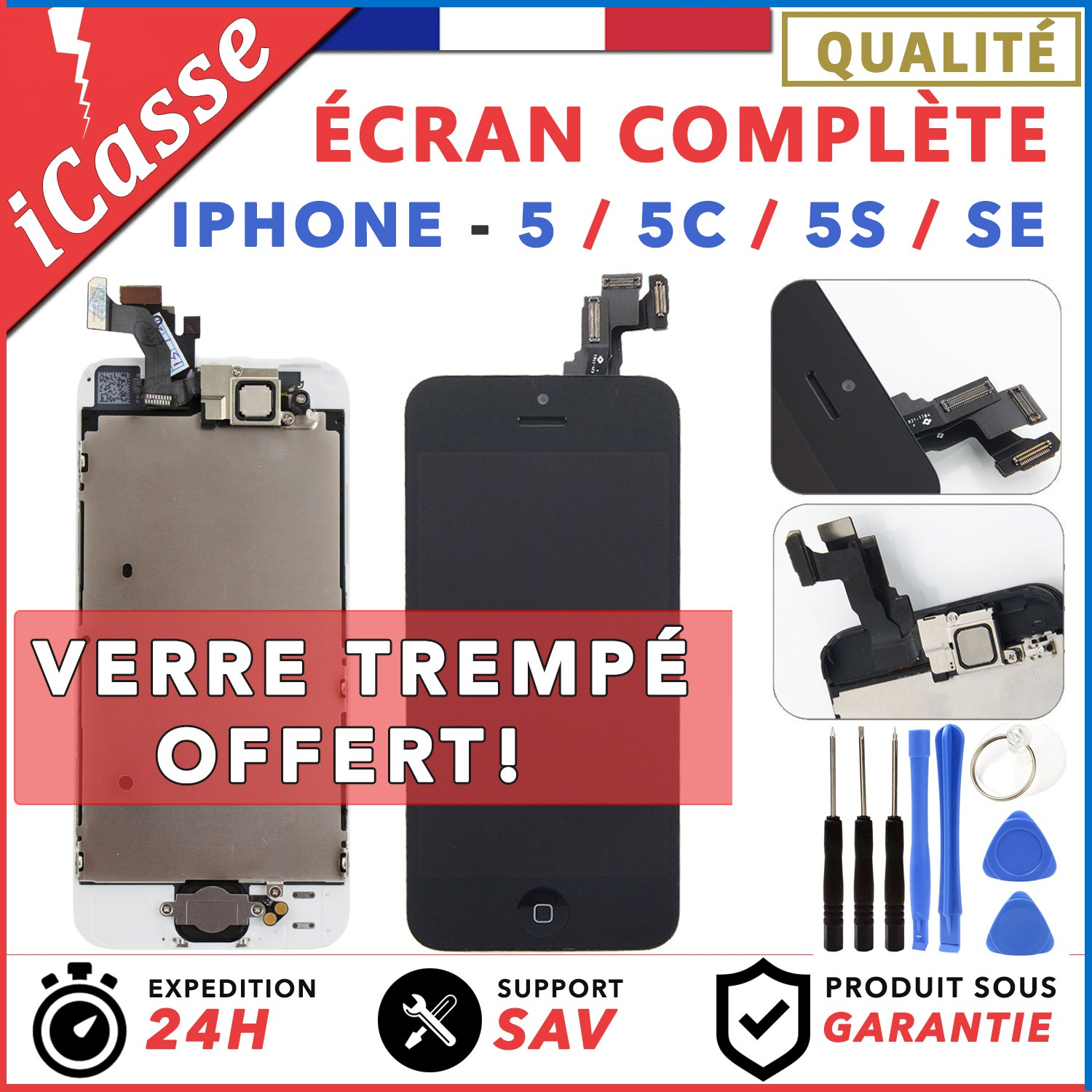 82aec8b14ab673 AAA ECRAN COMPLET IPHONE 5   5C   5S   SE VITRE TACTILE + LCD BLOC COMPLET  - iCasse - Pièces et Outils   Parts and Tools